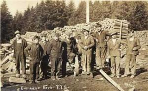 Wood Chopping at Tulalip Indian School, circa 1912