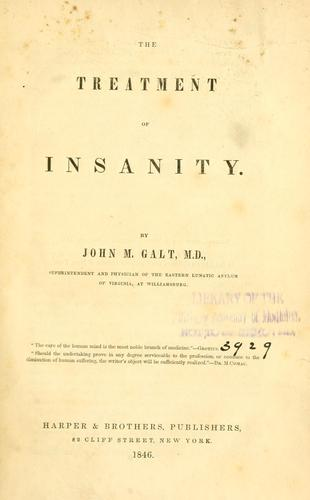 Treatment of insanity 1846