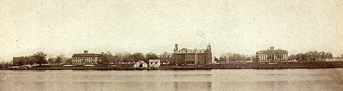 View of Ward's Island from New York City, including Insane Asylum