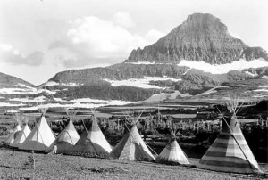 Blackfeet Teepees, Summit of Logan Pass, Mount Reynolds in 1933, courtesy National Park Service