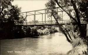 Postcard, East Bridge in Canton, SD