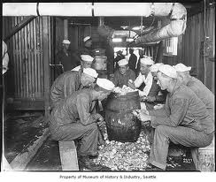 Sailors Peeling Potatoes at Naval Training Camp, Seattle, circa 1918