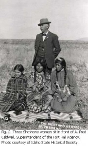 Three Shoshone Women and A. Fred Caldwell, Superintendent of the Fort Hall Agency, courtesy Idaho State Historical Society