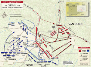 Map of Battle of Pea Ridge