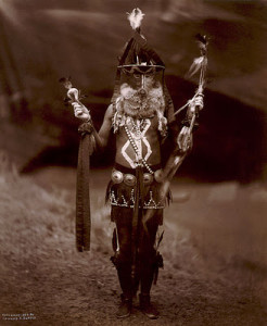 A Navajo Man in Ceremonail Dress, Including Mask and Body Paint, 1904, Edward S. Curtis