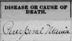 Puerperal Mania, 1890 Death Record from Michigan
