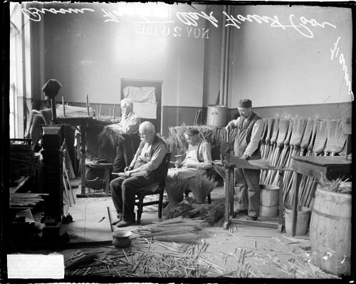 Men Working in Broom Factory at Oak Forest, IL Poorhouse, circa 1915, courtesy Library of Congress