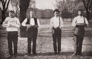 Patients Demonstrate Hand Restraints, 1915, courtesy The Burns Archive