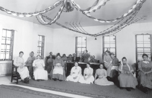 Patients and Staff at Christmas Party at State Hospital, Jamestown, courtesy Historical Society of North Dakota