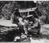 A Havasupai Indian Woman Receiving an Injection in Knee From Public Health Service Officer, courtesy National Library of Medicine