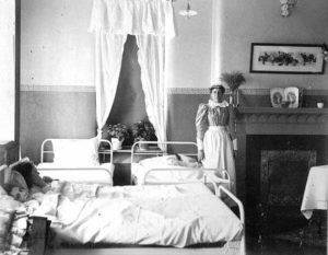 Nurse and Patients at Fergus Falls State Hospital, 1900