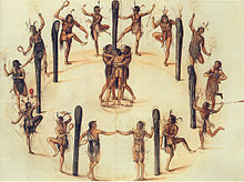 Secotan Indians' Dance in North Carolina, Watercolor by John White, 1585