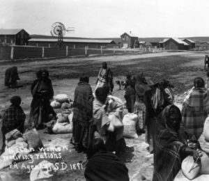 Sioux Indian Women Receiving Rations, Pine Ridge Reservation, 1891, courtesy Library of Congress