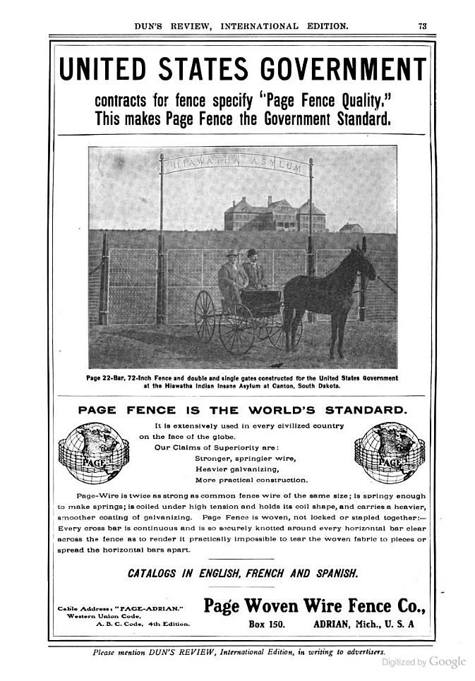 Page Woven Wire Fence Company | Indians, Insanity, and American ...