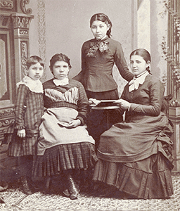 Left to Right, Nattie Fremont?, Mary Tyndall, Susan La Flesche, and Susan's Sister, Marguerite, 1880, courtesy Nebraska State Historical Society