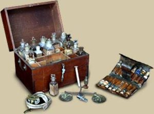 Medicine Chest circa 1850 and Pocket Pill Case circa 1820, courtesy University of Virginia Historical Collection at the Claude Moore Health Sciences Museum